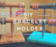 This DIY bracelet holder project is perfect for organizing bracelets and necklaces.  Can be used at home and by Shop owners in a retail store for jewelry display. #Bracelets #Jewelry #Organization