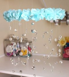 Crystal Baby Mobile Aqua Baby Mobile Flower Baby by TheMobileMaven, $90.00