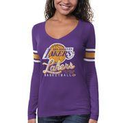'47 Brand Los Angeles Lakers Womens Purple Three Point Long Sleeve T-Shirt