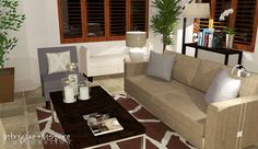 Our contemporary e-decorating 3-D perspective for a family room in Normal Heights, San Diego, CA.  www.intrigueandinspireedecor.com