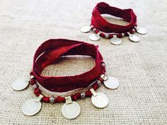 Matching Boho Gypsy Coin Anklets/ Bracelets  w Red by gypsykicks