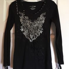 Medium top by R&B Long sleeved embellished top with ties at bottom of sleeves & around one side of neck.  Never worn.  Size medium. 100% cotton.  It's awesome looking but now doesn't fit me. R&B Tops Tees - Long Sleeve