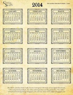 Crafty Secrets Heartwarming Vintage Ideas and Tips: 2014 Free Printable Vintage Calendars, 2 Winners, Antique Expo Show, Cool Samples and Tu...