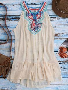 Crochet Bib Cover-Up Tank Dress - BEIGE ONE SIZE