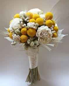 Keepsake bouquet of craspedia, wood roses, tallow berries - needs bling though!!