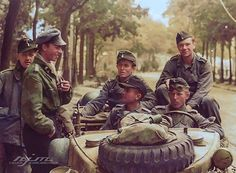 the_ww2_memoirs A young German Leutnant (Lieutenant) and his comrades of the 22nd Panzer Regiment, 21st Panzer Division, resting outside 50, Boulevard des Belges, Rouen, France, late in the afternoon, 25th of August, 1944. These men had survived the vicious fighting against the British Highlanders and 1st Paras on D-Day trying to secure the Orne. They were pushed back due to the Allied air superiority and artillery fire. Every single attack they made was stopped by British Typhoon and naval…