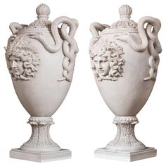 Impressive Pair of Neoclassical Marble Vases | From a unique collection of antique and modern vases and vessels at https://www.1stdibs.com/furniture/decorative-objects/vases-vessels/
