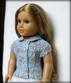 """18"""" American Girl Doll - Shirred Floral Button-Up Cotton Blouse w/ Peter Pan Collar.    For sale in my Etsy shop ~ Qute."""