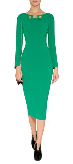 Chic, streamlined and stunning in emerald, this buttoned collar sheath from L'Wren Scott is both flattering and exquisite #Stylebop