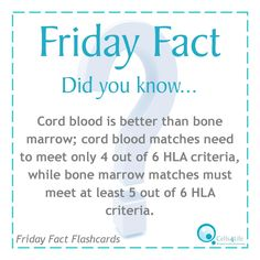 Friday Fact: Cord blood is better than bone marrow; cord blood matches need to meet only 4 out of 6 HLA criteria, while bone marrow matches must meet at least 5 out of 6 HLA criteria.