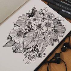Super line art flowers zentangle Ideas Doodle Art Drawing, Zentangle Drawings, Pencil Art Drawings, Art Drawings Sketches, Zentangles, Line Art Flowers, Flower Art, Dibujos Zentangle Art, Mandala Art Lesson