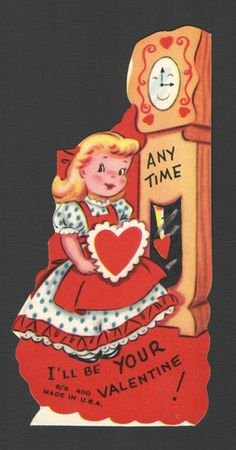 Vintage Valentines Day Card Anthropomorphic Grandfather Clock Any Time Unused | eBay