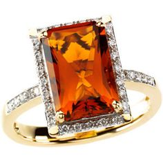 66863 / 14K Yellow / 1/5 CT TW/12.00X08.00 MM / Polished / GEN MADEIRA CITRINE & DIA RING