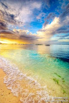 colorful sun rise and beach