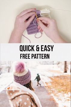 Free, easy crochet hat pattern - made from a rectangle! Simple color change techniques give you a clean line and the textured stitches make a stretchy knit-like fabric. hat kids videos Easy Crochet Hat - free pattern and video tutorial Knitted Hats Kids, Knitted Baby Clothes, Crochet Baby Hats, Knitting For Kids, Knitting For Beginners, Crochet For Kids, Crochet Yarn, Beginner Crochet, Easy Crochet Hat Patterns