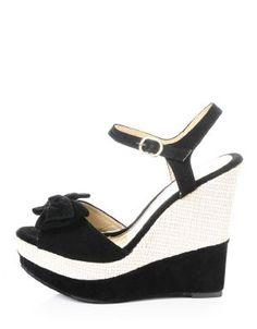Delilah Peep Toe Platform Wedge Sandals Black