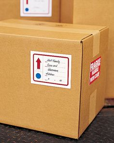 How to Pack a Box    Don't let your personal items get harmed during the moving process. Taking time to pack correctly can save you heartache down the road.    Get the Printable Checklist    Print our moving box labels on self-adhesive paper to keep all of your packed belongings in order. -  - lots of other good info about moving on Martha's site from this link
