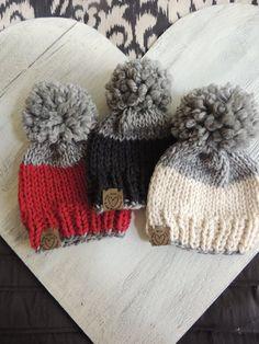 Baby Hats Knit Stocking hat Ski Hat Hats for Kids Unisex hat Knit Beanie Childrens hats Kids hats Luv Beanies Knit ski hats Baby Hats Knitting, Knitting For Kids, Loom Knitting, Knitting Patterns, Crochet Hats, Beginner Knitting, Baby Hut, Loom Hats, Baby Boy Hats
