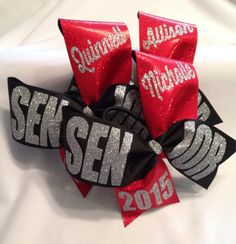 SENIOR cheer bow black glitter personalized 2016, 2017, 2018 green red blue gold…