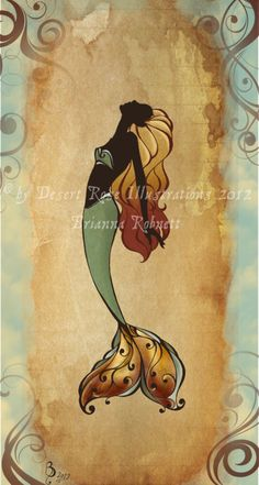 Vintage Mermaid 'B' by DreadPirateBri.deviantart.com on @deviantART