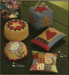 Folk Art Pin Cushions Primitive Fabric Sewing Pattern by Cotton Way