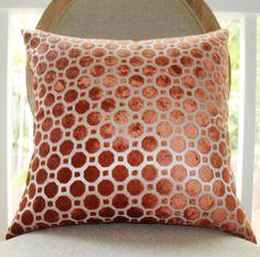 Decorative Designer Pillow Geometric Copper Velvet by MotifPillows