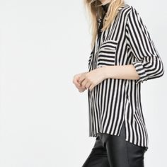 Zara Stripe double pocket shirt Gently worn; perfect for work and casual days. Zara Tops Blouses