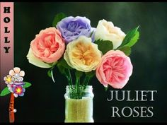 Paper Flowers Tutorial Easy Juliet Rose (Perfect for valentine or mother day) - YouTube