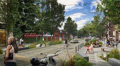Pedestrian friendly street design, curbless street