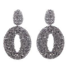 Women's Oscar De La Renta Beaded Frontal Hoop Earrings ($395) ❤ liked on Polyvore featuring jewelry, earrings, orecchini, silver, beading earrings, bead jewellery, beading hoop earrings, beading jewelry and cocktail jewelry