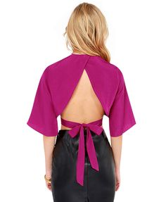 Blue or Pink V-neck Pure Color Backless Chiffon Blouse With Half Sleeves Crop Top @ ChicNova $25