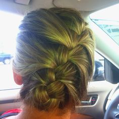Angled French braid tucked up