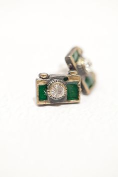Tiny Green Camera Stud Earrings for your photographer! $16