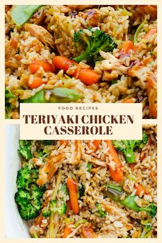 This Teriyaki Chicken Casserole is one you'll love and even the kiddos too. Healthy Freezer Meals, Healthy Chicken Recipes, Raw Food Recipes, Cooking Recipes, Freezer Recipes, Freezer Cooking, Drink Recipes, Yummy Recipes, Cooking Tips