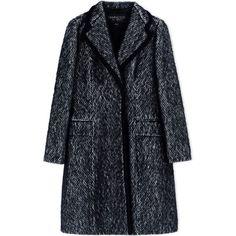 Giambattista Valli Coat (32.332.635 IDR) ❤ liked on Polyvore featuring outerwear, coats, black, velvet coat, black velvet coat, long sleeve coat, print coat and black coat