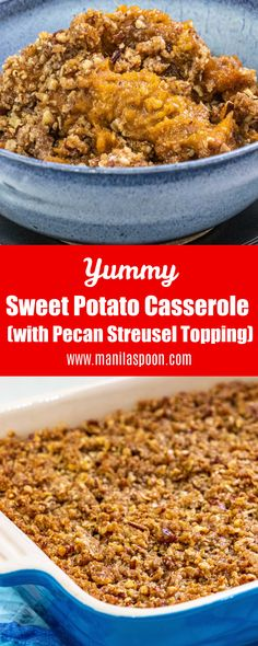 This is my family's favorite sweet potato casserole and what I make for Thanksgiving as it's so good! The pecan streusel topping makes this over the top delicious! The recipe includes a gluten-free option, too. This is also egg-free.