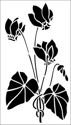Cyclamen stencil from The Stencil Library GARDEN ROOM range. Buy stencils online. Stencil code GR18.