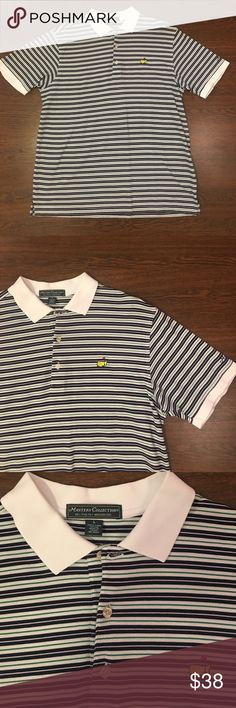Masters Collection Golf Shirt Stripes Size Large Masters Collection Striped Golf Shirt. Men's Size Large Polo. Lightly Worn. In Excellent Pre Owned Condition. Masters Collection  Shirts Polos