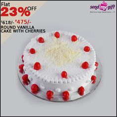 Get this #Round #Vanilla #Cake topped with #Cherries at just Rs. 475 only at #SendMyGift. Order this Yummylicious Vanilla cake with a #decoration of cherries and get Flat 23% OFF. Hurry Now! Order now at http://bit.ly/2bUl6yb  Cake Boss Vanilla Ice Cherry on Icing Yummy Sweeten India Sendmygift