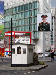 Checkpoint Charlie as it is now. It was one of the most famous border controls from West to East Germany before the wall was demolished .