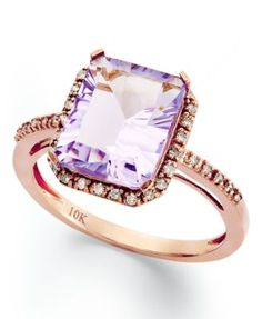 10k Rose Gold Ring, Emerald-Cut Pink Amethyst (2-1/2 ct. t.w.) and Diamond (1/8 ct. t.w.) Ring | macys.com