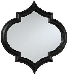 "Corinth 18"" High Black Decorative Wall Mirror -"