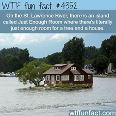 "The name of this island? ""Just Enough Room."" Yeah, that pretty much sums it up. This home is located in the Thousand Lakes Region of New York (near Jefferson) and Ontario, Canada.  ~WTF? weird and fun facts"