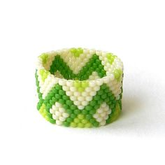Beaded Ring in green and cream tones - peyote ring - beadwork