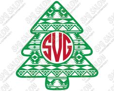 Aztec Christmas Tree Monogram Cut File in SVG, EPS, DXF, JPEG, and PNG