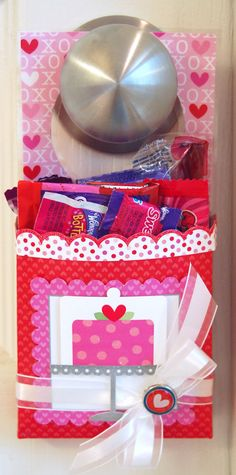 Valentine Door Hanger Treat Holders Tutorial ~ These cute door hanger treat holders are a fun idea to surprise someone you love on Valentine's Day.  I'm planning on putting them on my kids' doors for them to find that morning.