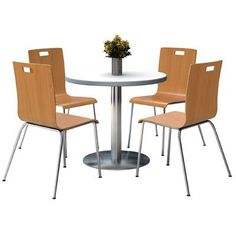 "KFI Seating Round Cafeteria Table and Chair Set Size: 42"" W x 42"" D, Tabletop Color: Grey Nebula, Seat Color: Natural"