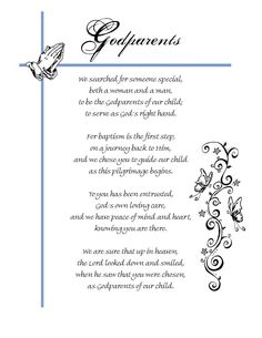 Christening Certificates for Godparents Godparent Poems, Asking Godparents, Godchild Gift, Godparent Gifts, Personalized Gifts, Baptism Party, Baby Christening, Baptism Gifts, Baptism Ideas