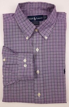 9763a53c2 Ralph Lauren Shirt 16 32/33 Purple Checked Blue Yarmouth Cotton Oxford Mens  Size #