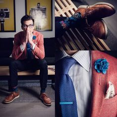 Chris N - Harrison Blake Apparel Lapel Flower, Pocket Square Clothing The Madeline, Mont Pellier Tie Bar, Blackbird Marine Blue Knitted Tie, Stance Socks, Cole Haan Lunargrand Wingtip - 112